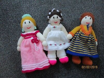 Three hand-knitted dolls (each appox. 12 inches in height)
