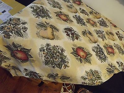 """Fruit & Floral Rectangular Tablecloth 52X64"""" Gold With Pears Apples Flowers 100%"""