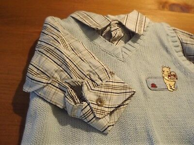 New Disney Classic Pooh Infant Boys Shirt & Vest Sz 3 Mos Nwt Baby Blue Plaid