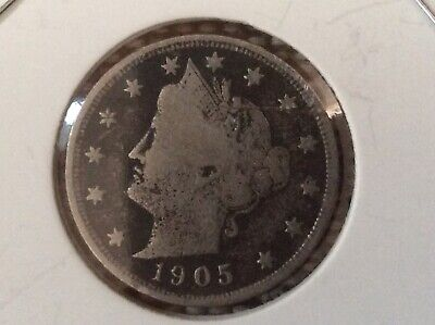 Liberty Head V Nickel 1905 Old Collectable With A Good Date