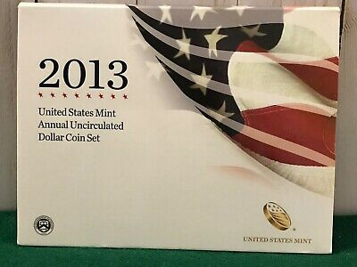 2013 US Mint Annual Uncirculated Dollar Coin Set, with Silver Eagle; Pristine