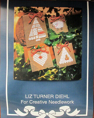 Liz Turner Diehl Four Christmas Ornaments Counted Needlepoint Chart/Pattern/Kit