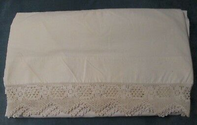Fabulous & Lush Hand Crocheted Trim on Antique Double Bed Flat Sheet