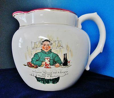 """Antique Motto Pitcher Monk """"Commend Married Life to Everyone""""  Arts & Crafts Era"""