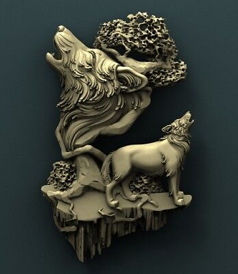3d STL Model Relief for CNC Router Aspire _ (0117) Wolves