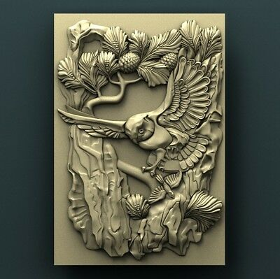 3d STL Model Relief for CNC Router Aspire _ (0118) Owl