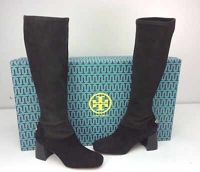 8f17bc898add Tory Burch Sidney 70mm Boots Black Stretch Suede Tall Block Heel Size 10.5
