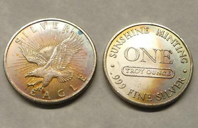 2 1 Troy Ounce .999 Fine Silver Rounds, Sunshine Mining, Eagle Style, Color Tone