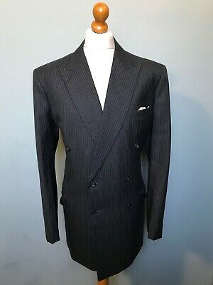 Vintage bespoke double breasted grey pinstripe suit size 46