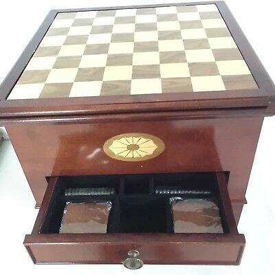 Wood Table Converts To Game Boards Monopoly Scrabble Backgammon