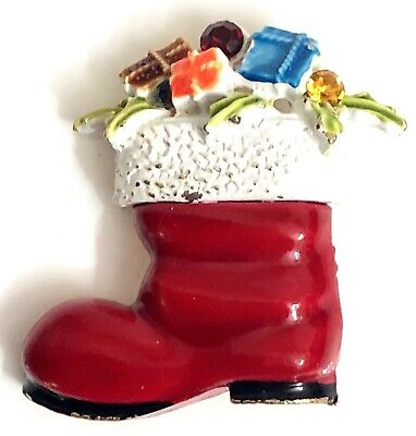 Vintage Signed ART Pin Christmas Boot Red White Enamel Gifts Rhinestones