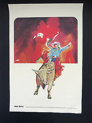 1977 Rodeo Lithograph BULL RIDER National Finals Rodeo Hesston Corp NOS
