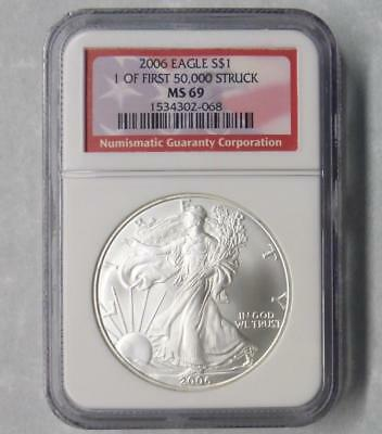 2006 NGC MS69 American Silver Eagle Dollar, 1oz Silver $1, 1 of First 50k Struck