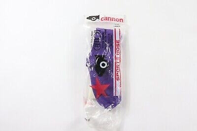 Vintage 80s New Cannon Youth Large Nylon Tall Athletic Soccer Socks Purple White