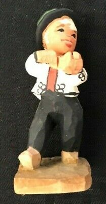 Henning Norwegian Folk Art Wooden Hand Carved Boy with Violin - Post 1950 Nice!
