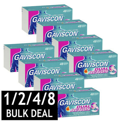 Gaviscon Dual Action Tablets Indigestion & Heartburn Relief Peppermint 48 Count