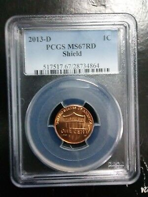 2013 D Lincoln SHIELD Cent PCGS MS67 RD