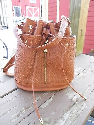 e82e83892b STEVE MADDEN CHESTNUT Brown faux leather bucket purse backpack combo ...
