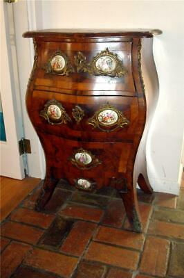 Antique French Louis XV, Bombe commode w/ hand painted porcelain pulls.
