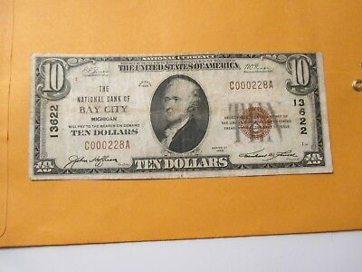 1929 $10 The National Bank Of Bay City,Michigan