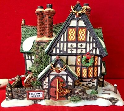 Staghorn Lodge Dept 56 Dickens Village 58445 Christmas hunters cabin house A