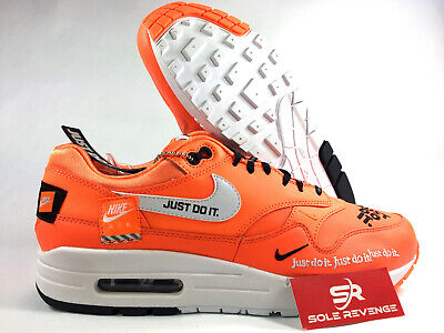 official photos 4e615 ca212 New Nike Air Max 1 O1021800 JUST DO IT JDI Orange Black White Mens Shoes