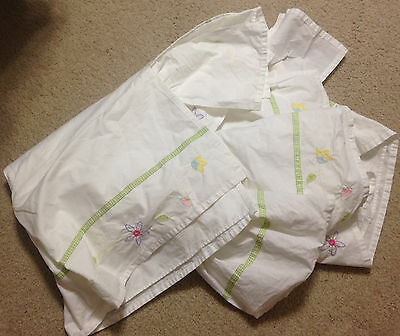 Pottery Barn Kids Crib Bedskirt White Cotton with Floral Embroidery