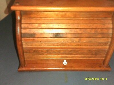 Old Solid Wood Hand Made Roll Top Bread Box