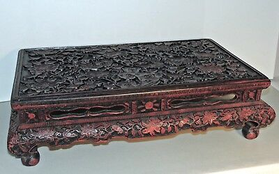 Antique Chinese Low Table - Circa 1900 - Hand Carved Cinnabar