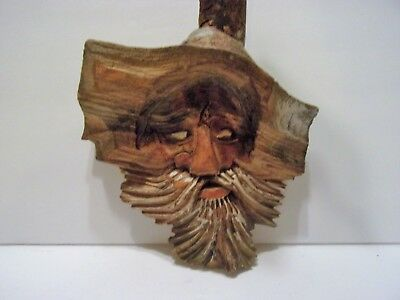 Carved Wood TREE SPIRIT wall OLD MAN wizard wall hanging