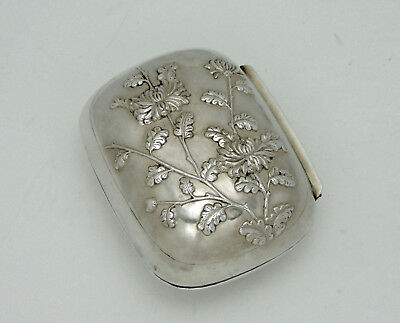 Chinese Export Sterling Silver Box by Wang Hing - circa 1900 - Chrysanthemums