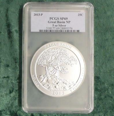 2013 PCGS SP69 Nevada Great Basin 5 Ounce .999 Silver ATB Quarter, First Strike