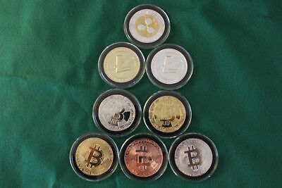8 Cryptocurrency Commemorative Coins Like Bit coin Casascius Lealan. IN HAND USA