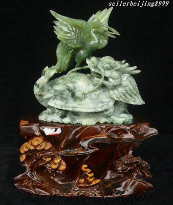 Chinese XiuYu Jade Carving Dragon Tortoise Loong Turtle Red-crowned crane Statue
