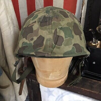 ORIGINAL USMC KOREAN War Frog Camo Helmet Cover W/ Helmet, Dated 1953