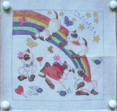 Siamese Cats/Kittens & Rainbow Hand Painted Needlepoint/Tapestry Canvas