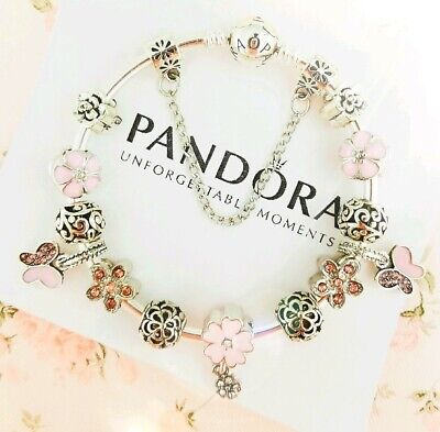 Authentic Pandora Bracelet Silver Bangle with Pink Butterfly European Charms