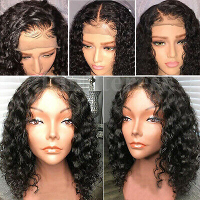 New 8A 100% Real Brazilian Virgin Human Hair Lace Front Wig Bob Curly Waovy Wigs