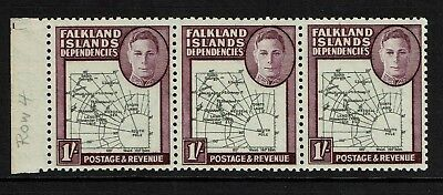 Falkland Islands SG# G8 Strip of 3 MNH / Varieties Plate 2 (See Notes) - S6013