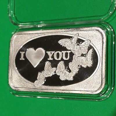 I Love You Collectible Rare Bar 1 Troy Oz .999 Fine Silver Ingot Vintage Medal