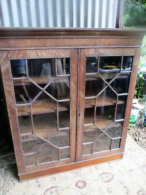 Antique Glazed Bookcase Adjustable Shelves Original