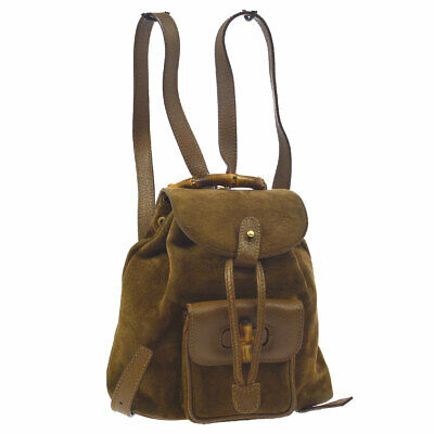f627f10e626993 Auth GUCCI Bamboo Line Backpack Hand Bag Brown Suede Leather Vintage AK31200