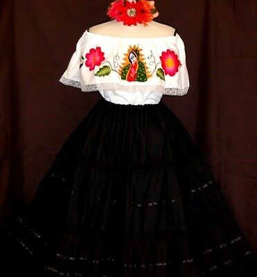 72788ab8792 Mexican Maxi Dress Virgen de Guadalupe Embroidery 2 pc Floral 5 de Mayo