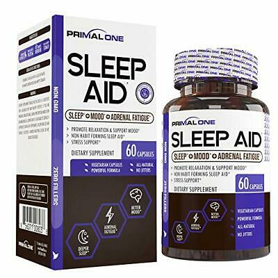 PRIMAL ONE Sleep AID - Non Habit Forming Sleep Support & Adrenal Fatigue Supplem
