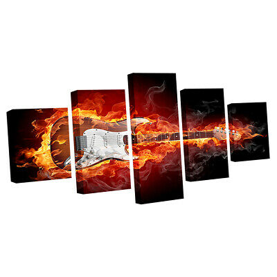 Large Canvas Print Art Wall Picture 5 Panels Sunset Ocean Framed Guitar