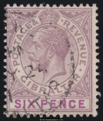 1923 Gibraltar 6d Dull Purple & Mauve, SG 97, used
