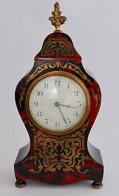 Antique French Boulle Style Mantle Clock - Inlaid Brass -  Louis XV Style 29cm