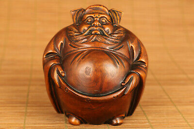 China old boxwood Zhong Kui conquer demons statue figue netsuke table decorate