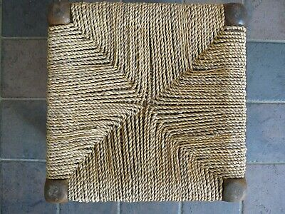 Vintage Mid Century Stool Buffet Seat Woven String Solid Wood Frame 60s Rafia