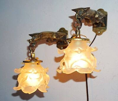 Antique French Pair Of Bronze Gargoyle Sconces:1900